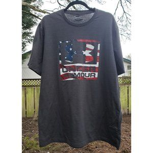 Under Armour Mens XL Gray American Flag Tee
